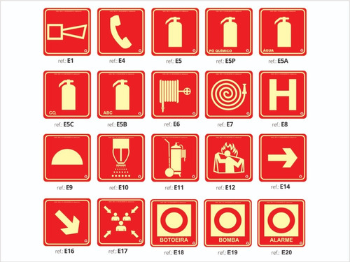 Imagem 1 de 10 de Placa Fotoluminescente Combate A Incêndio / Kit 25 Placas