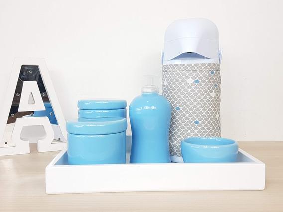 Kit Higiene Bebe Porcelana Azul Bebe Garrafa Com Capa