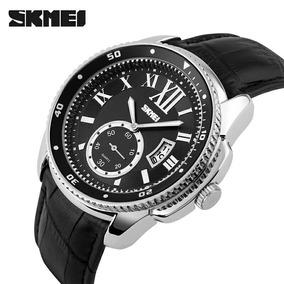 Relógio Skmei De Luxo Original Pulseira Couro Modelo 1135 Pr