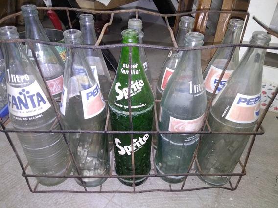 Cajón Alambre Vintage Con Botellas Gaseosas Antiguas