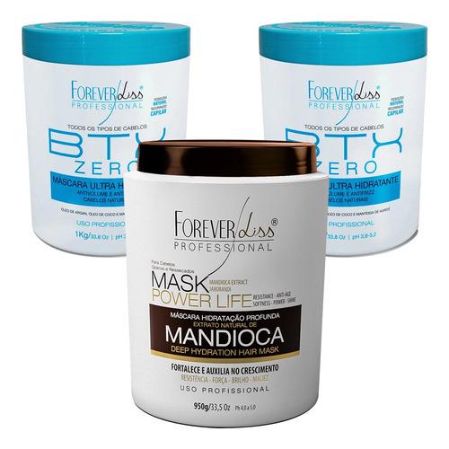 Kit Forever Liss Mascara Mandioca E 2 Botox Zero Hidratação