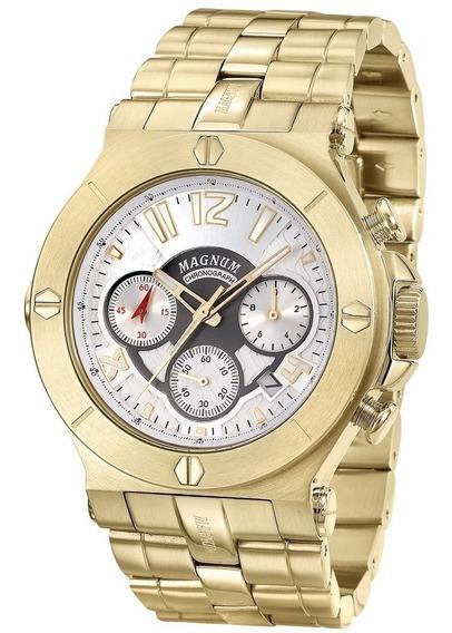 Relógio Masculino Magnum Pulseira Ouro Ma32247h
