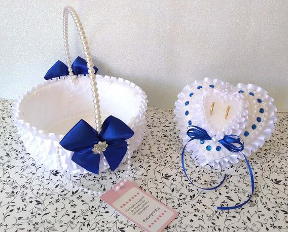 Conjunto Cesta Florista E Porta Alianças Azul Royal