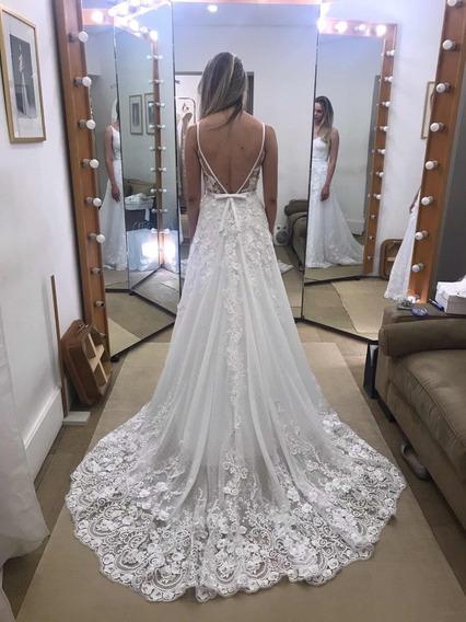Vestido De Noiva Tamanho 36, Decote Nas Costas, Renda E Véu
