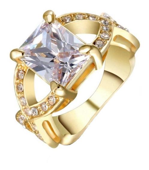 Anel Feminino Aliança Compromisso Pedra Cristal Branco 572