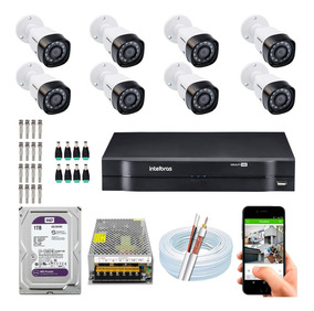 Kit 8 Cameras Alta Definição Dvr Intelbras 1108 G4 Wd Purple