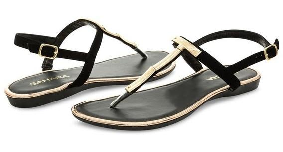 Sandalias Marca Sahara Color Negro Para Mujer Pr-8000632