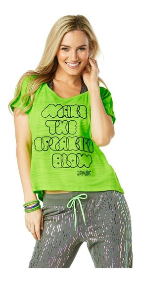 Remera Mujer Zumba Wear Verde Negra Baile - Gymtonic