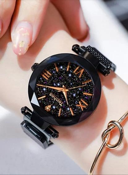 Relógio Feminino Super Luxo Céu Estrelado Pulseira Magnética