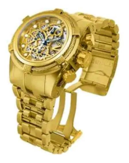 Relógio Zeus Bolt Skeleton Banhado Ouro 18k