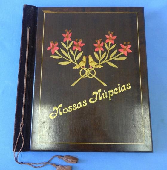 Album De Fotos Antigo Nossas Núpcias - Madeira Marchetada