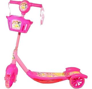 Patineta Scooter Para Niños Con Luces Y Canasta De 3 Ruedas