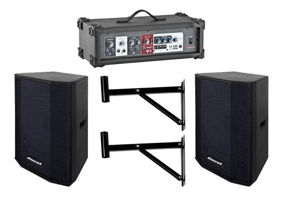 Kit Som Para Igreja Caixa + Amplificador Oneal Ll 420