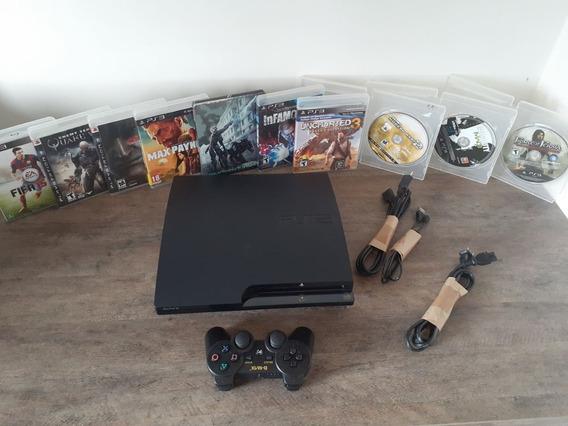 Playstation 3 Super Slim + Controle Ps3 + Jogos + Bivolt