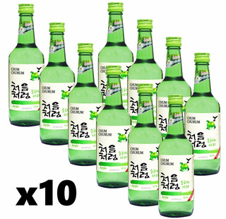 Soju Maçã Verde Bebida Coreana Chum Churum Lotte 360ml X10