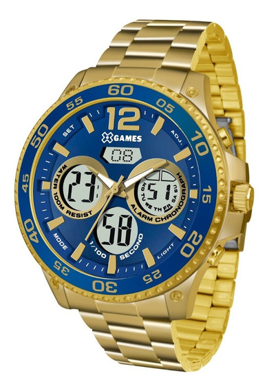 Relógio X-games Masculino Anadigi Xmgsa005 Dourado Azul