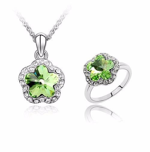 Collar Crystallized C Piedra Verde Y Anillo 7 Certificado