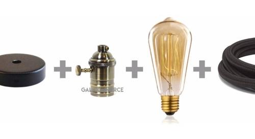Imagen 1 de 10 de 3 Portalampara Con Lampara Filamento Cable Textil Con Floron