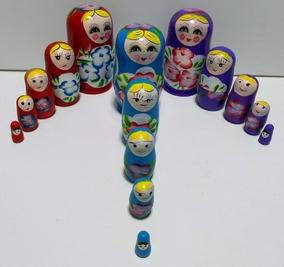 Boneca Matrioska Russa - 5 Bonecas Uma Dentro Da Outra 11 Cm
