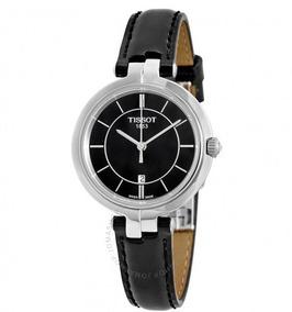Relógio Tissot Feminino Flamingo Preto/couro/prata Suíço