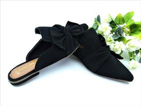 07ba0d0cd2 Sapatilha Mule Bico Fino Preta Veludo Liso Mirian Shoes