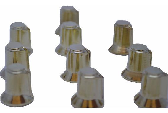 Kit 10 Knob Botão Giratorio Potenciômetro Estriado Dourado