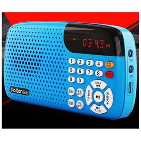 Rádio Rolton W105 Fm Suporte Cartão Tf Display Led Cor Azul