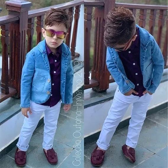 Conjunto Infantil Blazer Jeans Calça Branca