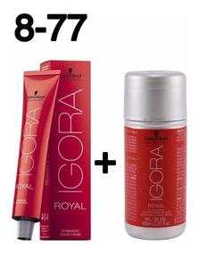Coloração Igora Royal Louro Claro Cobre Extra 8-77 + Ox 20 V