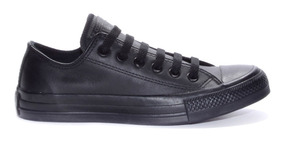 Tênis Converse All Star Monochrome Leather Ox Couro Preto