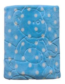 Cobertor Raschel Bebe Relevo Com Capuz Jolitex Azul Menino