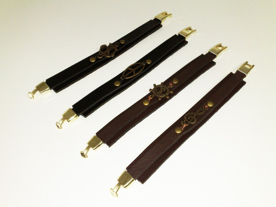 Pulseira Bracelete Em Couro Com Fecho Em Metal - 19 Cm