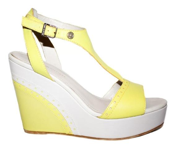 Zapatos Sandalias Wedge Tommy Hilfiger 24 Gris Y Verde Nueva
