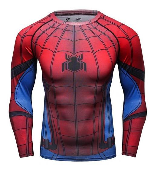 Remera De Compresion Super Heroes Spider Man M/ Larga Marvel
