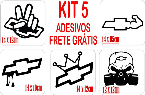 Kit 5 Adesivos Automotivo Chevrollet Frete Grátis