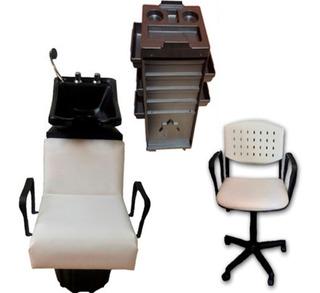 Combo Lavacabeza Grif Bronce+silla Corte+carro Ayudante