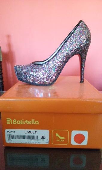Zapato Taco Alto Con Plataforma Multicolor Glitter