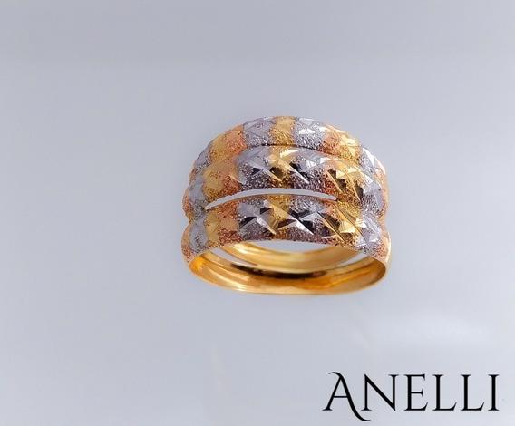 Anel Feminino Em Ouro 18k 3 Cores Diamantado