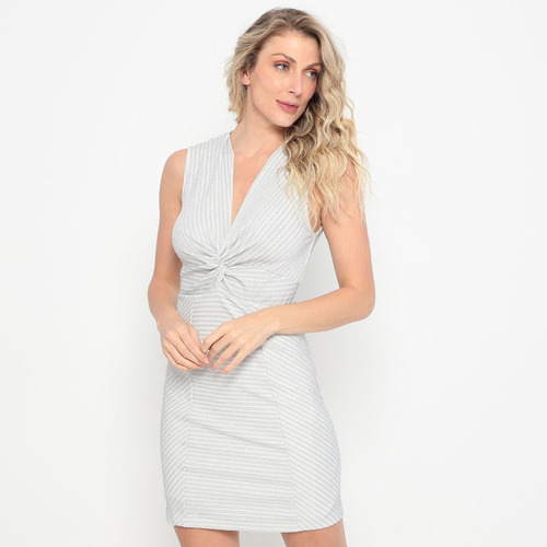 Vestido Curto Metalizado Prateado & Off White Colcci Tam. P
