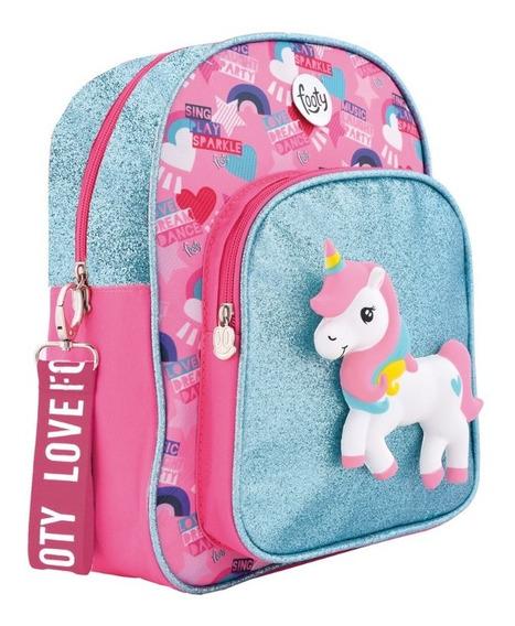Mochila Fashion Squishy Unicornio Celeste