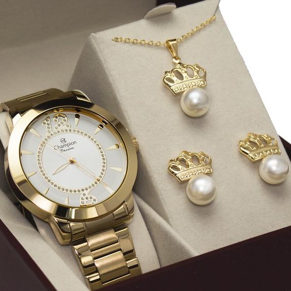 Relógio Champion Feminino Dourado Original + Kit Brinde
