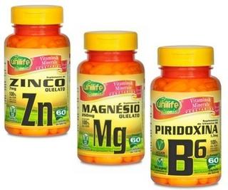 Zma Testosterona 3 X 60 Cápsulas Zn + Mg + B6 Kit Unilife