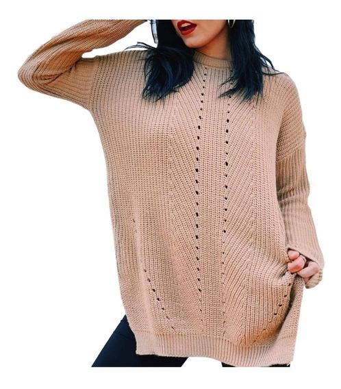 Sweater Calado Largo De Mujer Pullover Olivia* Chuva Ropa