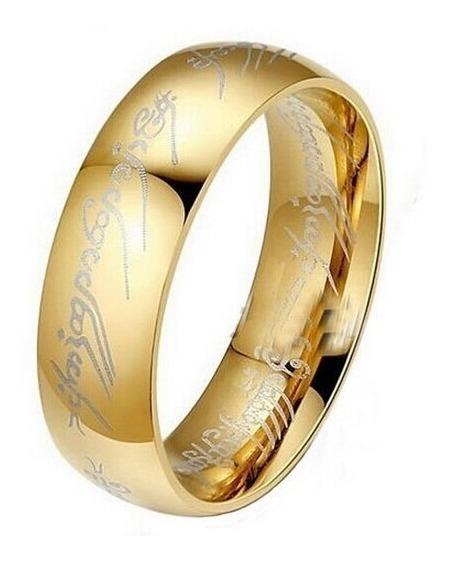 Anel Senhor Dos Anéis Titânico Banhado A Ouro 18 K