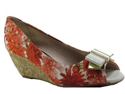 Sapato Feminino Beira Rio Floral Laranja 4775116 Mega Oferta Últimas Unidades