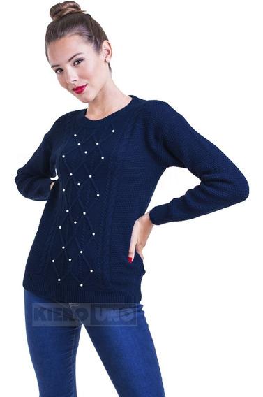 Sweater Mujer Cuello Redondo Saco C/ Perlas Moda