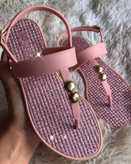 Sandália Confort Rosa Com Brilho