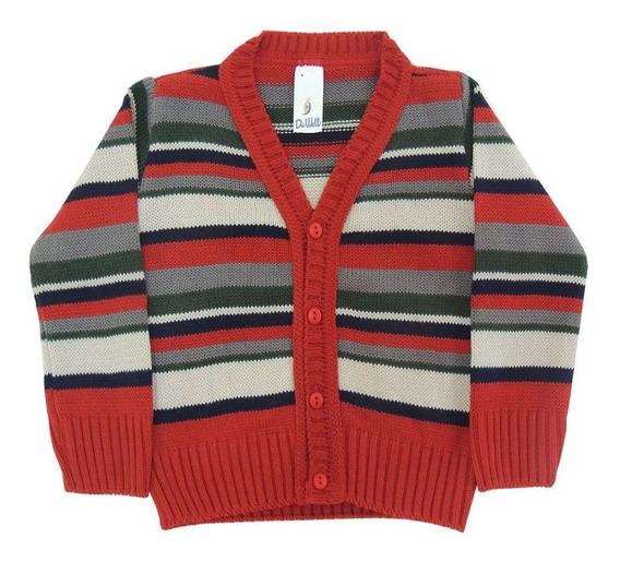 Casaco De Lã Listrado Infantil Menino
