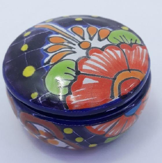 Caixa Porta Jóia Porcelana Mexicano Feito A Mão De Talavera