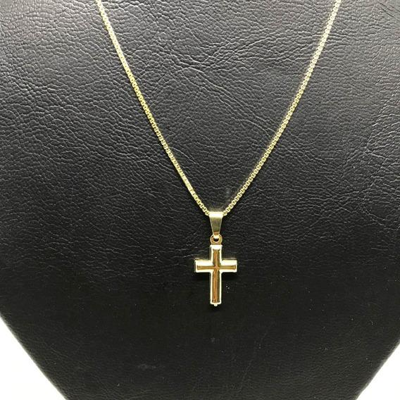 Corrente Veneziana Colar 70cm +pingente Cruz Banhado A Ouro